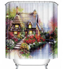 Cottage Floral Scene Fabric Shower Curtain 70x70 Kinkade-Style House Flowers