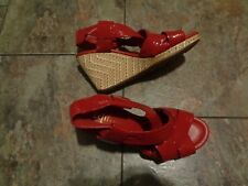 cole haan air red strappy wedge heels shoes size 7 1/2