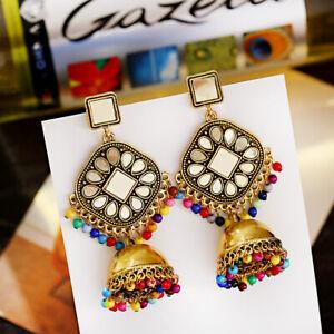 Womens Vintage Gold Tassel Jhumki Gypsy Drop Earrings Ethnic Indian Jewelry