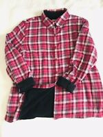 LL Bean Women's Fleece Lined Button Flannel Shirt Red/black/White Plaid Sz XL