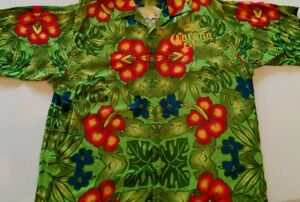 Corona Beer Men's Hawaiian Shirt XL Green Blue Yellow Red Hibiscus