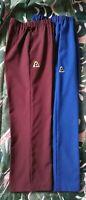 2 x Pairs Lawn Bowls Pants Size 14 Royal Blue Burgundy Poly Elastic Back BA Logo