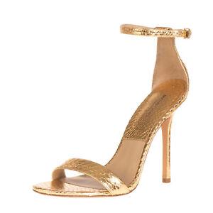 RRP €355 MICHAEL KORS COLLECTION Snakeskin Sandals EU 39 UK 6 US 8.5 Metallic