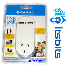 CABAC 2x USB 240V POWER POINT CHARGING STATION + SURGE PROTECTION & PASSTHROUGH