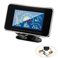 12V/24V 4 in 1 LCD Car Digital ALARM Gauge Pressure Voltmeter Volt Water Te N5W2