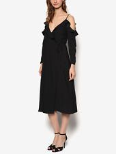 NWT TopShop Ruffle Wrap Cold Shoulder Midi Dress Size8 Black Cross Strap LBD