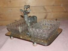 ANTIQUE SILVER PLATE STAG DEER CUT GLASS PEANUT TRINKET TRAYS.