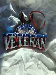 Veteran Plaque Eagle Glass Christmas Ornament Proud To Be An American Patriotic