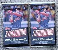 2x 2017 Topps Stadium Club Pack(Aaron Judge Rookie Mike Trout Kris Bryant AUTO)?