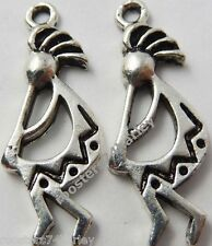 Tibetan Silver Kokopelli Flute Dancer Indian Southwest Charm Pendant 4pcs.