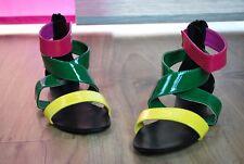 Glanz Sandaletten Sandalen Knöchel Riemen Bunt Pink Grün Gelb Lack color mix hip