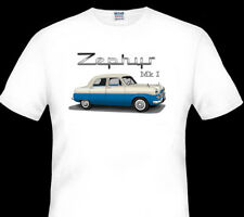 FORD  ZEPHYR  MK1  MkI  ZODIAC  QUALITY  WHITE TSHIRT (3 CAR COLOURS ) BIG FIT