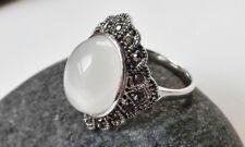 Ring im Vintage-Look Strass Hämatit Kunstharz opal weiß grau antik silber 18 mm