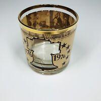 Vintage Gold Rim Bicentennial Declaration Independence Rocks Whiskey Glass (SMG)