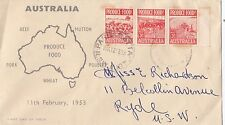 Stamps Australia 1953 Food Produce 3&1/2d strip of 3 on Rouvre Cox cachet FDC