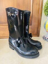 Red Valentino Black Bow Moto Rain Boots Sz 38 / 7.5 / 7 1/2