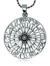 925 solid Sterling Silver Compass with 12 signs of the Zodiac Wheel pendant