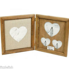 RUSTIC Multi Wood HEART Hinged PHOTO Picture Frame Chic Shabby Memo BOARD