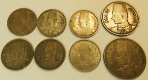 Egypt  Lot of 2 x 10 Piastres and 6 x 5 Piastres King Farouk Silver Coins !!!