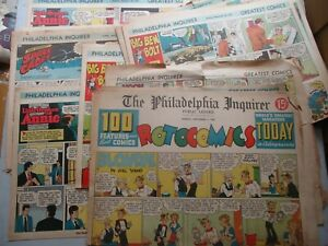 HUGE LOT of 76 Pages Philadelphia Inquirer Sunday Comics 1947 to 1953