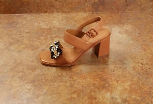 New! Tory Burch 'Delaney' Embellished Double Strap Sandals Brown 7 M MSRP $348