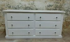 HANDMADE AYLESBURY WHITE 6 DRAWER LONG CHEST WITH SILVER KNOBS ** READY ASSEMBLE