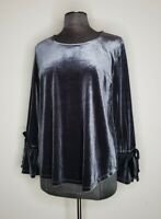 Pleione Anthropologie Women's Small Silver Gray Velvet Bell Sleeve Top Shirt