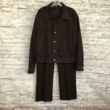 True Vtg Brown Leisure Mates Suit Pants Jacket Groovy Disco Club Xl 48