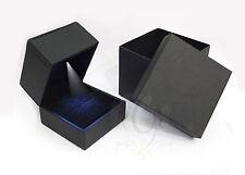 1 pcs Black  Leatherette leather like with LED light single ring box USA Seller