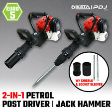 2in1 Petrol 52cc Pile Post Driver+Jackhammer Star Picket Jack Hammer Demolition