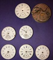 Antique Lot Of 7 Pocket Watch Parts Elgin National Watch Imperial Locust