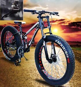 "26"" Large Fat Tire Heavy Duty Beach Mountain Bike High Carbon Frame 7/21 Speed"