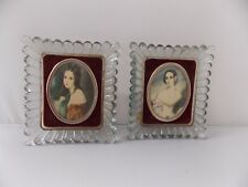 """Vintage """"Cameo Creations"""" Glass Wall Picture Plaques 4 x 5""""-Famous Ladies"""