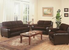 Monika Brown Corduroy Fabric Casual Living Room Furniture Set Sofa & Love Seat