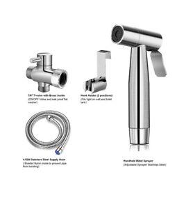 Nuflush Handheld Bidet Sprayer for Toilet with Diverter Valve and Hose, Chrome