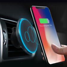 LED 360° QI INALAMBRICO CARGADOR SOPORTE COCHE MAGNETICO FOR IPHONE X TELEFONO