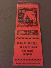 Main Grill Nappanee IN Ind Indiana Matchbook Matchcover