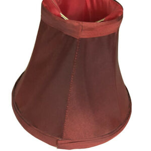 """Bell Lamp Shade Clip On Burgundy Satin Silky Lined 5"""" Tall x 3"""" Top x 6"""" Bottom"""