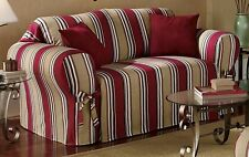 All Cotton Red Stripes Sofa/Loveseat/Chair Slipcover Cover + 2 matching Pillows