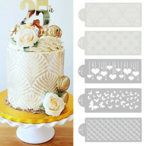 Wheat Spike Heart Butterfly Pattern Cake Mold DIY Baking Template Stencil Mould
