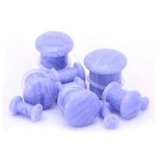 "Ear Plugs 11mm/7/16"" Gauge Body Jewelry Pair-Stone Agate Blue Lace Single Flare"