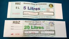 Lot of 2 Zimbabwe gas ration petrol scrip--5 and 20 liters notes