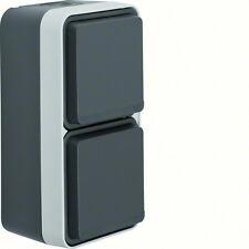 Berker Steckdose + Wechselschalter lichtgrau Aufputz IP 55 Serie W1 Typ 47803515