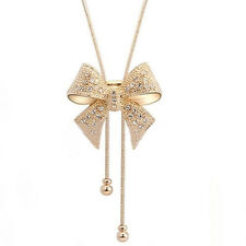 Luxury Crystal Bowknot Pendant Long Necklace Rhinestone Butterfly Hot Sale Chain