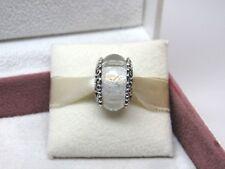 New w/Box Pandora Iridescent White Glass w/ Heart Filigree Murano Charm 797617