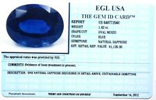 EGL USA CERTIFIED NATURAL OVAL CUT BLUE SAPPHIRE 1.62CT appraised $1135.00