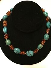 STERLING SILVER 925 TURQUOISE NUGGET & AMBER NECKLACE