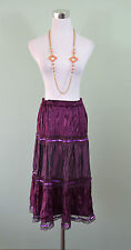 MEI NA Womens Vtg Retro 80s Purple Flare Ruff Velvet Embellish Skirt sz XL LW