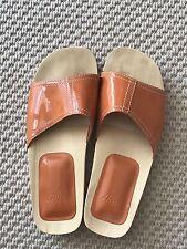 j jill Orange Patent Leather Wood Slides Clogs