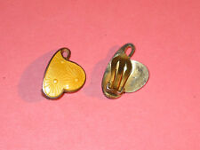 IVAR T HOLT ~ Norwegian Modernist ~ Sterling & Yellow Enamel Heart Earrings